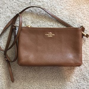 Coach lyla pebble leather purse brown f38273